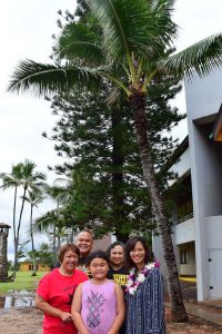 Milli Asuncion, Leon Florendo & his daughter, Mia Luluquisen, and Patricia Halagao under the SG coconut tree planted in 1981 at the very first conference.