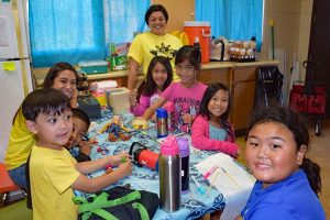 The Keiki Barangay having fun doing crafts with Manang Cassie Burigsay and Manang Monica Batac.